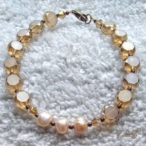 Champagne Crystal & FreshWater Pearls